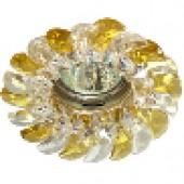 Светильник потолочный, CD2316  JCDR G5.3, с прозрачным-желтым стеклом, золото, с лампой
