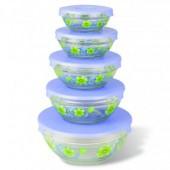 GLSA-5-003 Набор стеклянных салатников с крышками 5 шт.(1/12)