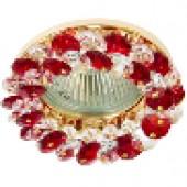 Светильник потолочный, CD4141 JCDR G5.3, с красным стеклом, золото, с лампой